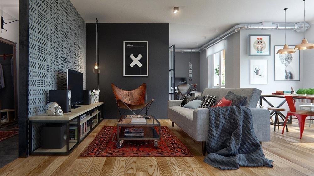 Phong cách công nghiệp quyến rũ trong căn hộ một phòng ngủ