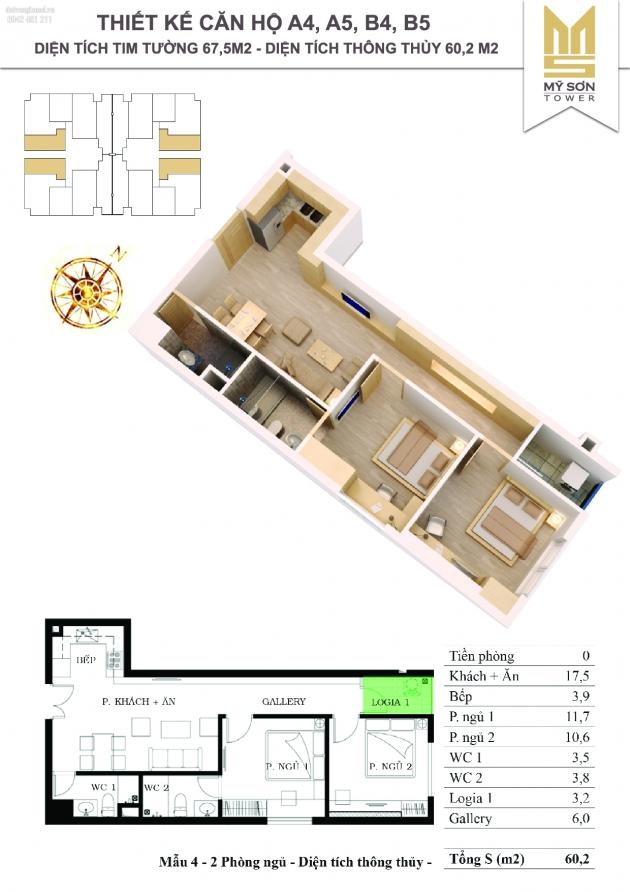 Bán gấp căn hộ mỹ sơn tầng 15A5 diện tích 67.5m giá 25tr/m2