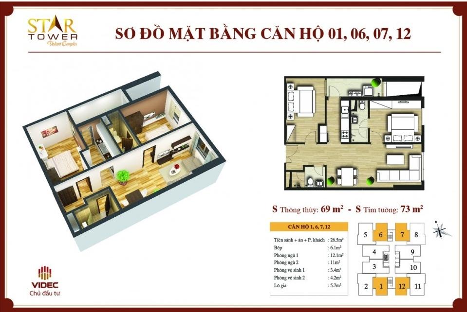 Chính chủ bán căn hộ chung cư stars tower 283 Khương Trung, DT: 73,2m2 giá rẻ 1,7 tỷ Tòa C căn 01