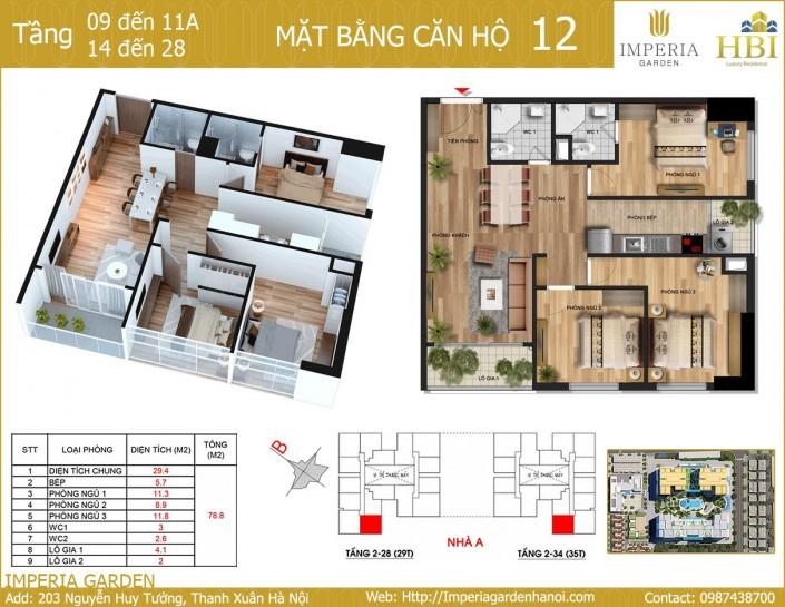 Bán gấp chung cư Imperia Garden, 78m2 tầng 12 căn 12, 3 ngủ giá 2,7 tỷ 29T