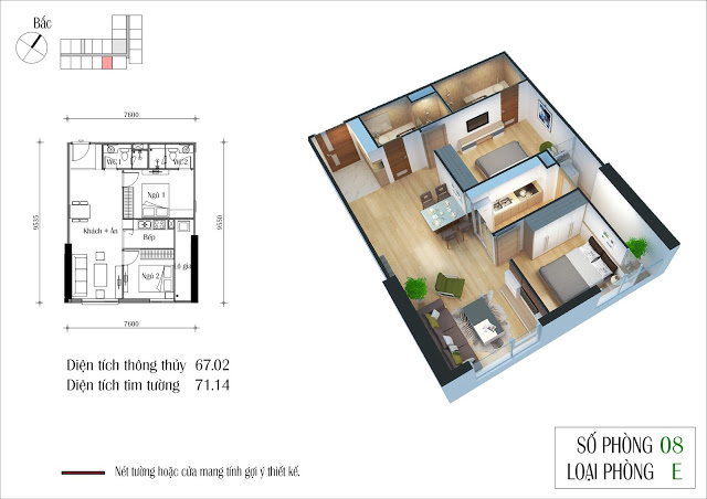 BÁn căn hộ chung cư Eco Green City, 67,02m2 căn 08 Ruby 4, giá rẻ 1,8 tỷ