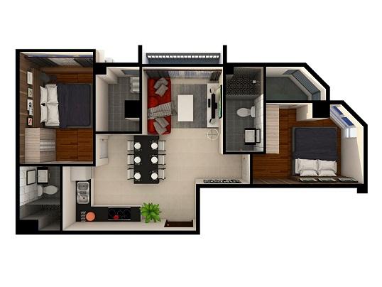 Cho thuê căn hộ tầng 6 khu căn hộ cao cấp Monarchy, 1PN, 50m2.
