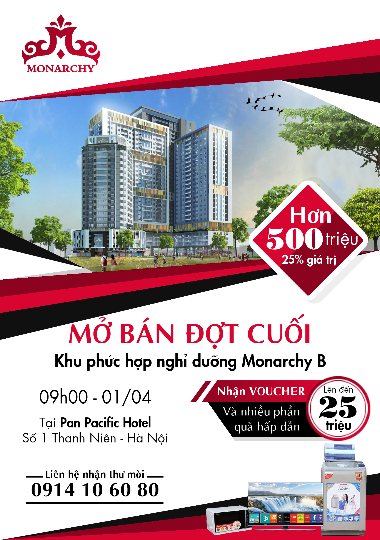 Nhận giữ chỗ căn hộ Monarchy Block B1 những căn đẹp nhất - Chỉ với 50 triệu