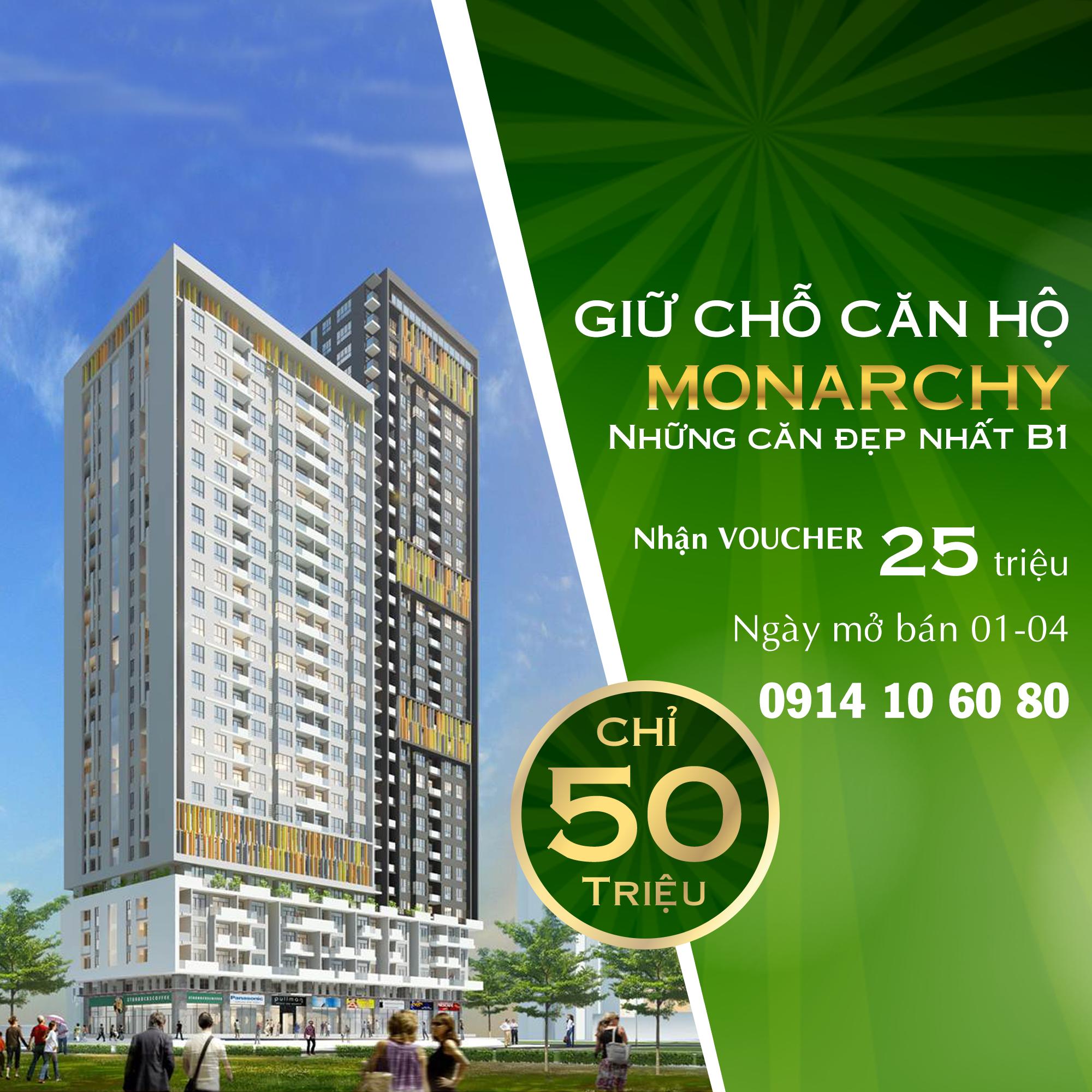 Nhận giữ chỗ căn hộ Monarchy Block B 50 triệu/ căn mở bán 31-3 tại Hà Nội